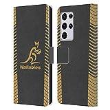 Head Case Designs Licenciado Oficialmente Australia National Rugby Union Team Réplica Gris Wallabies Carcasa de Cuero Tipo Libro Compatible con Samsung Galaxy S21 Ultra 5G