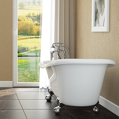 Luxury 60 inch Clawfoot Tub with Vintage Slipper Tub Design in White, includes Brushed Nickel Ball...