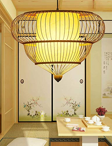 LAMP Licht, Deckenpendelleuchten, hängende Leuchten, einfache und moderne kreative pastorale Bambuslounge Esszimmer Kronleuchter Flurspaziergang (6 Stile) Hängelinie verstellbar,Mittel,b