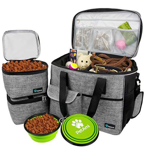 PetAmi Hunde-Reisetasche | von Fluggesellschaften zugelassene Tragetasche mit Multifunktionstaschen, Futterbehälter und faltbarer Schüssel perfektes Wochenend-Reise-Set für Hunde, Katzen (grau, groß)