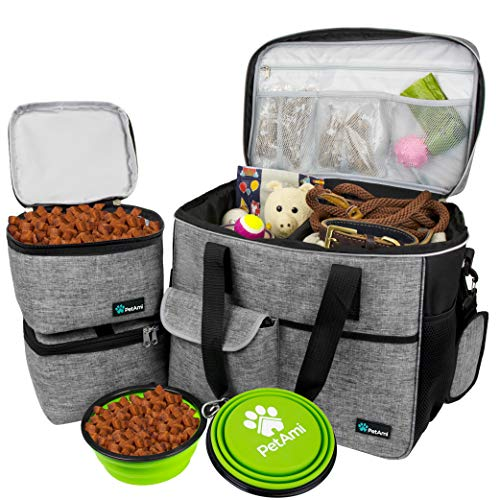 PetAmi Dog Travel Bag   Airline Approved Tote Organizer with Multi-Function Pockets, Food Container Bag and Collapsible Bowl   Perfect Weekend Pet Travel Set for Dog, Cat (Grey, Large)