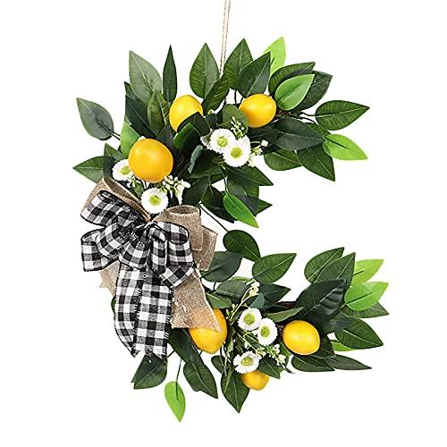 HUIKJI Guirnalda de frutas de primavera, guirnalda artificial con limón y pequeña margarita para el hogar, fiesta, verano, interior, exterior, ventana, pared, decoración de boda