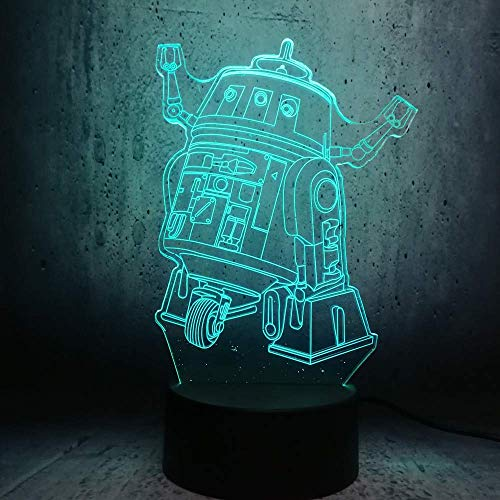 ZJBD YUMEI 3D Illusion Lamp, Led Night Light Game Role Tool Children Illusion New Creative Teenager Room Decor Lava Exhibition Bulb Lighting-Touch (Color : Touch+Remote)