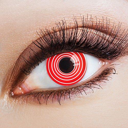 aricona Kontaktlinsen - Weiß rote Kontaktlinsen mit Spiral-Optik - Halloween Kontaktlinsen Horror ohne Stärke