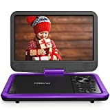 "COOAU 12.5"" Portable DVD Player with HD Swivel Screen, 5 Hours Built-in Rechargeable Battery, Region Free, Support USB/SD Card, 3.5mm Audio Jack, Remote Control, Resume Playback (Purple)"