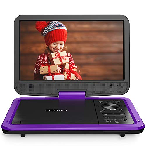 "COOAU 12.5"" Portable DVD Player with HD Swivel Screen, 5 Hours Built-in Rechargeable Battery, Region Free, Support USB/SD Card, 3.5mm Audio Jack, Remote Control, Resume Playback, Purple"