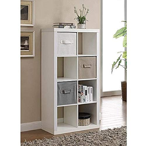Better Homes and Gardens 4-Cube Organizer Storage Bookcase Bookshelf (4, White) (Weathered, 9 Cube)