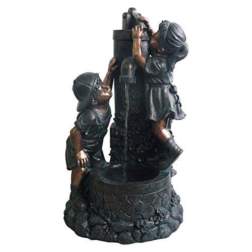 Polyresin Boy and Girl Sculptural Fountain - Polyresin , Pump Included, Adjustable Valve