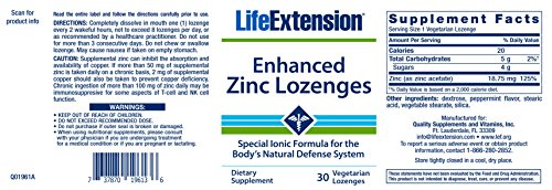 Life Extension Enhanced Zinc Lozenges, 30 Vegetarian Lozenges