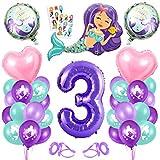 3er Cumpleaños Globos,Globos 3 Años Sirena,3 año Niña Cumpleaños,Sirena Numero 3 Globos,Sirena Niña 3 Año,Morado Globo Número 3,Sirena Globos 3 año Cumpleãnos Niña Fiesta Party Decoración