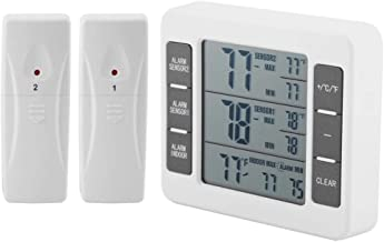 Refrigerator Thermometer, Wireless Digital Freezer Thermometer with 2 Wireless Sensors, Audible Alarm, Min/Max Record, LCD Display for Indoor Outdoor, Home, Restaurants, Fridge, Bars, Cafes