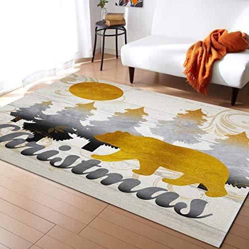 Area Rug Runner 3x5ft, Christmas Bear Golden Outdoor Runner Rugs Carpet for Hallway/Bedroom/Kitchen/Living Room/Indoor, Low Profile Pile, Non Slip, Rustic Xmas Tree Wood