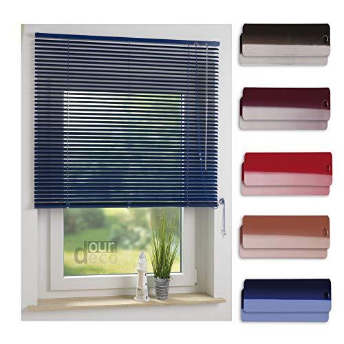 ourdeco® Aluminium-Jalousie / 100 x 130 Dunkelblau (Breite x Höhe) / Montage an Wand oder Decke, Premium Alu-Jalousie