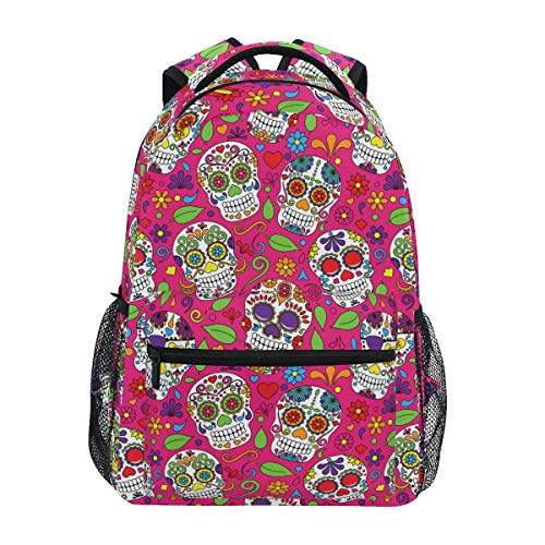 Sugar Skull Backpack for Boys Girls Elementary School Gothic Bookbag 2021743