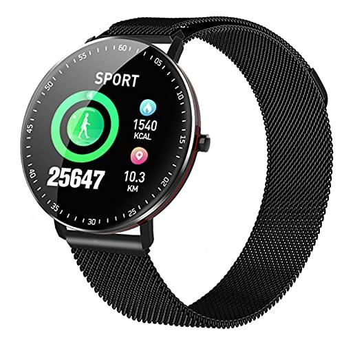 ZGLXZ Reloj Redondo Smart Watch Pantalla Táctil Completa Pulsera Inteligente Dinámica Tasa del Corazón Y Presión Arterial Ciclismo Modo Deportivo Cambio para Teléfonos iOS De Android,Negro