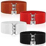 4 Cinturones de Mujer Elástico Vintage de Cincha (Negro, Rojo, Blanco, Marrón)