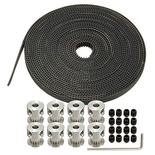 ZEFS--ESD Compatible 26Pcs 5M Timing Belt GT2 16T 5mm Bore Pulley Prusa Mendel Printer 3D 1*GT2 Belt+8*GT2 Pulleys+16*Screws+Wrench for 3D Printer