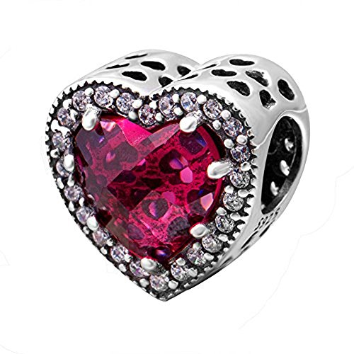 ABUN Radiant Heart Charm with Red and Clear CZ 925 Sterling Silver Love Charm for Bracelet, (Red)