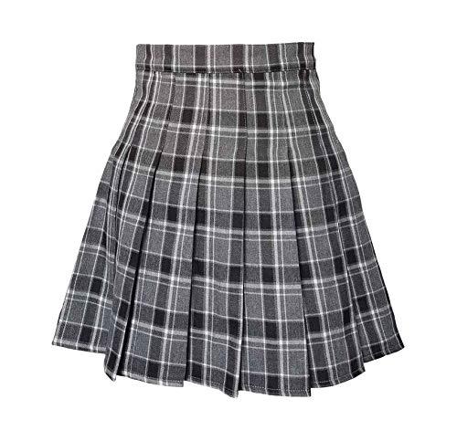 Hoerev Women Girls Short High Waist Pleated Skater Tennis Skirt,S,BlackGrey,US 2