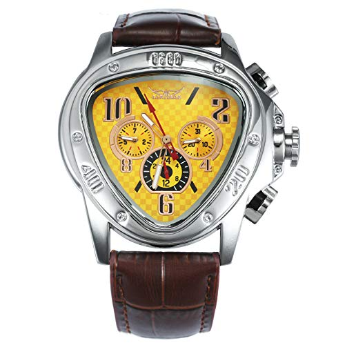 Calux Mechanische Herren-Armbanduhr, einzigartiges dreieckiges gelbes Zifferblatt, Zifferblatt, Lederband + Geschenkbox