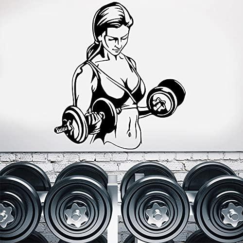 GYM Fitness Sports Sexy Muscle Woman Mancuernas Entrenamiento Entrenamiento Etiqueta de la pared Calcomanía de vinilo Sala de estar Bodybuilding Club Studio Decoración para el hogar Mural