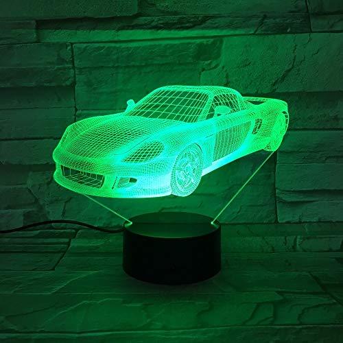 Colorido coche de carreras tridimensional que modela la lámpara de mesa 3D LED niños iluminación USB | Atmósfera de regalo de luz visual de Halloween.