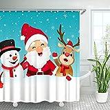 LIVILAN Weihnachtsmann Duschvorhang Santa Claus mit Schneemann & Rentier im Schnee Schneeflocke Teal Merry Christmas Duschvorhang mit 12 Haken (Blaugrün)