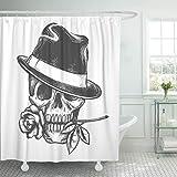 QYGA-3BU Cortina de Ducha Destiny Skull in Hat Rose Flower The Mouth Tela de poliéster Impermeable para Humanos 60 x 72 Pulgadas con Ganchos