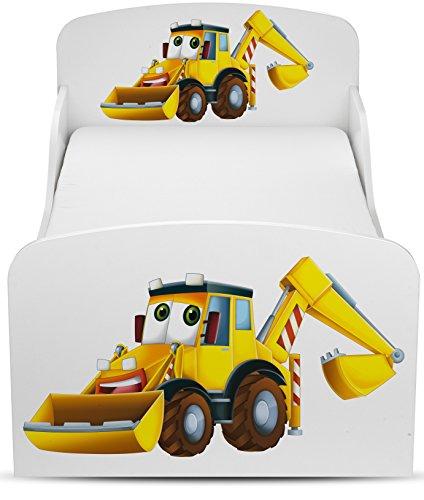 Letto per Bambini in Legno con Materasso Dimensioni del Materasso 140x70 Motivo Mr. Escavatore Veicoli da Costruzione Tema edilizia, con ruspe e Camion