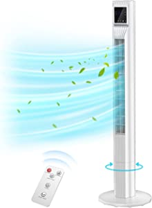 Tower Fan 44 inch,Oscillating Tower Fan for Home,Tower Fan with Remote Control,Quiet Fan for Bedroom,Floor Fan,Bladeless Fan with 3 Modes and 3 Speeds,7.5h Timer