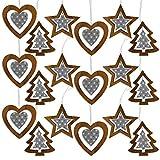 by Robelli Adornos colgantes de madera para árbol de Navidad estilo Shabby Chic (18 x recortes en color gris y blanco)