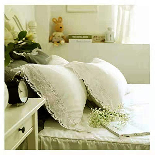 Meaning4 White Lace Pillow Shams Queen Size Pillow Cases Pure Cotton for Bed Country Style 2 Pieces 20'x30'