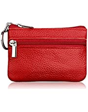 Borsello portamonete e portachiavi con zip, unisex, in pelle morbida, rosso.
