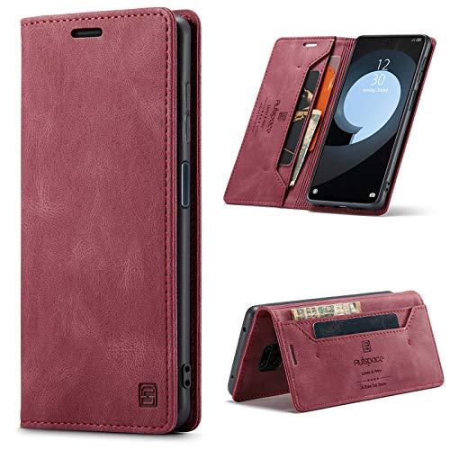 GANKER Handyhülle für Xiaomi Redmi Note 9 Pro Hülle, Redmi Note 9S Hülle Premium Leder [RFID Schutz] Flip Case Magnetisch Klapphülle Lederhülle Schutzhülle für Redmi Note 9 Pro/9S Hülle - Wein Rot