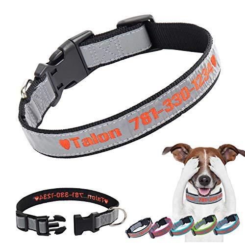 Personalisiertes Hundehalsband, individuell gestickte ID-Hundehalsbänder Reflektierende Nylon-Sicherheitshundehalsbänder Name Telefonhalsband für großen mittelgroßen kleinen Hund (Schwarz)
