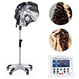 Salón profesional Secador de pelo, 1800W ajustable ruedas de laminación del soporte Tratamiento de aceite hasta teñido Perming Máquina de peluquería Equipo de herramientas,Negro