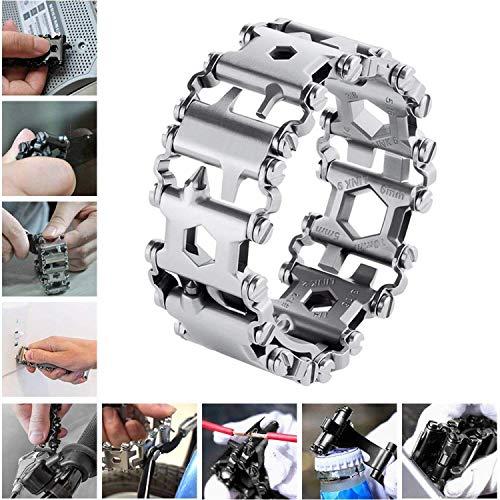 Survival Multitools Silver Bracelet for Men,29 in 1 Stainless Steel Multifunction Bracelet Outdoor Multitools Bracelet Travel Friendly Wearable Tread Bracelet for Sailing/Travel (Sliver)