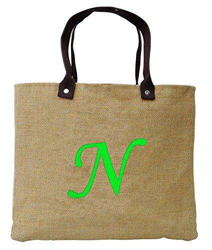 Personlaized Faveur de mariage initial Merci cadeau Nature Sac de jute brodé à la main de sac d'emballage cadeau