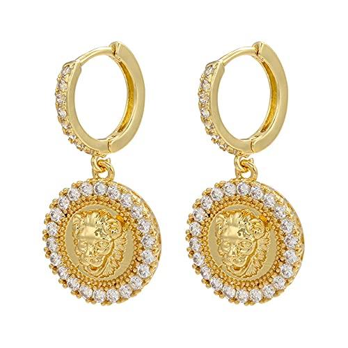Pendientes de aro de color dorado para mujer Pendientes de gota de cabeza de león de cristal exquisitos Joyería de moda