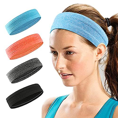 Confezione da 4 fasce sportive per uomo e donna, leggere e morbide, elastiche per il sudore, antiscivolo, per esercizi di fitness, yoga, pilates, danza, tennis, corsa