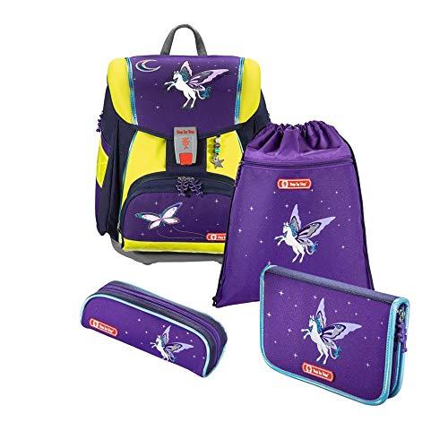 """Step by Step Schulranzen-Set Touch 2 DIN """"Pegasus Dream"""" 4-teilig, lila-gelb, ergonomischer Tornister mit Reflektoren, für Mädchen 1. Klasse, 21L"""