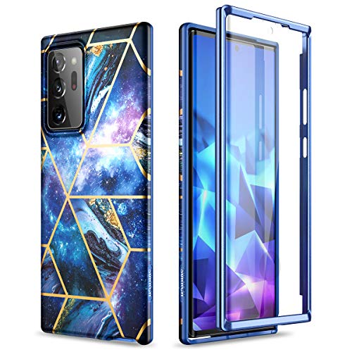 SURITCH for Samsung Galaxy Note 20 Ultra Case, [Built-in Screen Protector] Marble Full-Body Protection Shockproof Rugged Bumper Protective Cover for Galaxy Note 20 Ultra 5G 6.9 Inch (Space Blue)