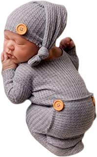 Fashion Cute Newborn Boys Girls Baby Photo Shoot Props Outfits Crochet Clothes Long Tail Hat Romper Photography Props
