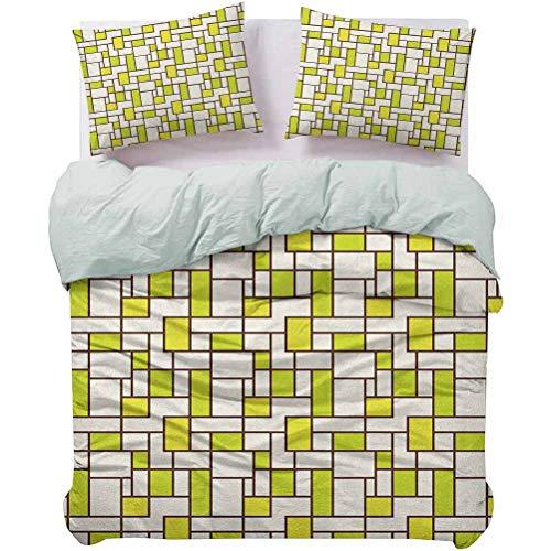 UNOSEKS LANZON Juego de ropa de cama Cuadrados Diseño Cuadrados Rectángulos Formas abstractas Patrón Moderno y ligero Colcha de Lujo Fresco Ligero Castaño Marrón Verde Crema Tamaño Queen