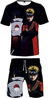 Mens Two Piece Tracksuits with Round Neck Short Sleeve 3D Anime Naruto T-Shirts and Shorts