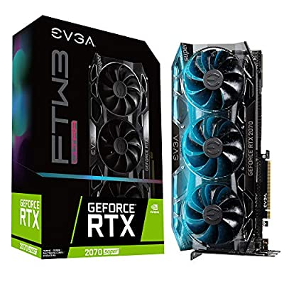 EVGA VCX 08G-P4-3277-KR GeForce RTX 2070 Super FTW3 Ultra 8GB GDDR6 Gaming Graphics Card, iCX2 Cooling, RGB LED, Metal Backplate