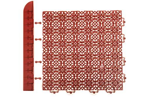 andiamo Eckleiste zur Kunststofffliese Bodenfliese Gartenfliese Länge: 43 cm, Set: 2 Eckleisten, terra