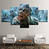 YUANJUN Puzzle 5 TLG Kunstdruck Modern Wandbilder Design Tapete Eingerahmt Bilder Drucke Leinwand Wandkunst Wohnkultur Gem?Lde Poster Mehrteilig XXL Gehender Toter Zombie