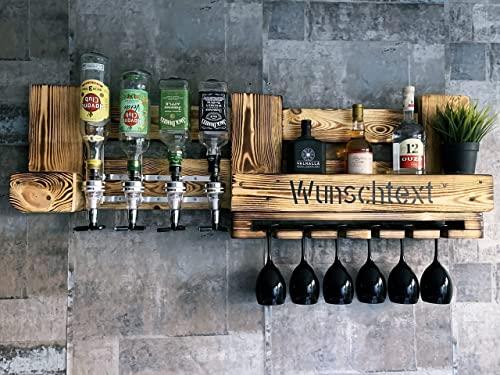 Wandbar mit 4 Getränkespender Zapfhahn für Spiritousen - Personalisierung Geschenk Wunschtext - Weinregal rustikal Holz Palette - Flaschenhalter & Glashalter - Minibar für Schnapsflaschen