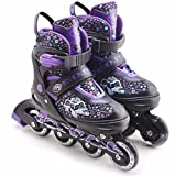 The Magic Toy Shop Childrens Kids Boys Girls 4 Wheel Adjustable Inline Skates Roller Blades Boots (Purple,...